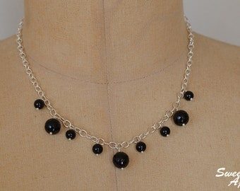 Black Tourmaline Waterfall Necklace