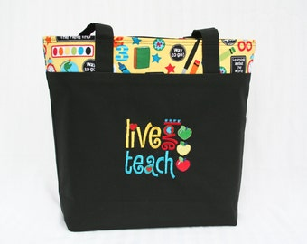 Live, Love, Teach Teacher Tote Bag