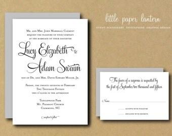 Wedding Invitation Template - Custom DIY Printable Wedding Invitation Suite - Whimsical Calligraphy II