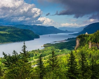 View of Crown Point and the Columbia River, Columbia River Gorge, Oregon - Nature Photography Fine Art Print or Wrapped Canvas