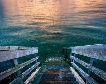 Staircase to Elliott Bay at sunset, in West Seattle, Washington - Photography Fine Art Print or Wrapped Canvas