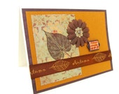 SALE - Rustic Card - Autumn Card - Blank Card - Rich Colors - Gold and Brown - Shabby Chic Flower - Hand Stamped - Autumn Leaves