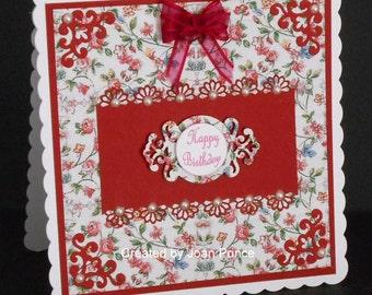 Maroon Floral 8 x 8 Card