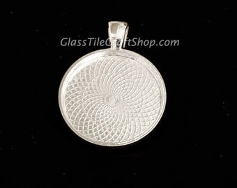 500 Pack - 25mm Round Pendant Trays Sterling Silver Plated