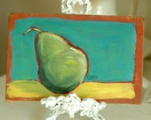 Just a Pear - Antique Book Cover Painting - Original, Painterly, Impressionist, Acrylic Painting