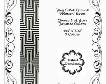 Loom or Square Stitch Pattern Optical Illusion Any Color Geometric Miyuki Delicas Peyote