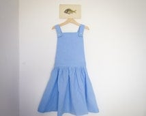 dressed in linen overalls - for child 7-8 years - blue