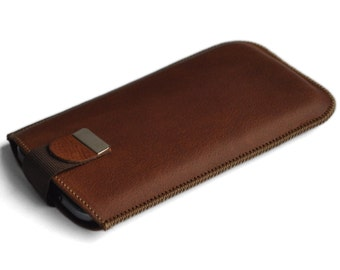 Samsung Galaxy Note5 Sleeve Genuine Brown Leather Case Magnetic Flap for Closure of Pouch Cover