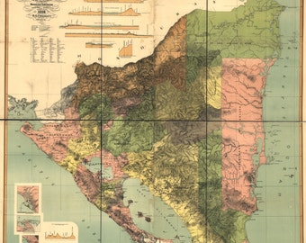Nicaragua 1898 Central America- Map Print