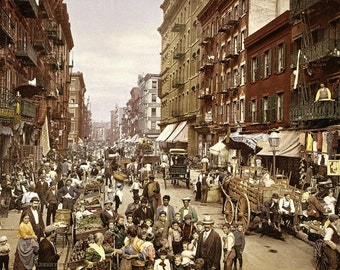 Mulberry Street Scene, Early 1900s, New York City- Photograph/ Photo  - Color