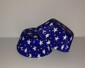 75 count Blue with white stars standard size cupcake liners/baking cups