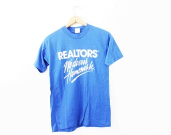 MEDIUM Vintage 1980s Realtors We Do Our Homework Soft and Thin Graphic T-Shirt