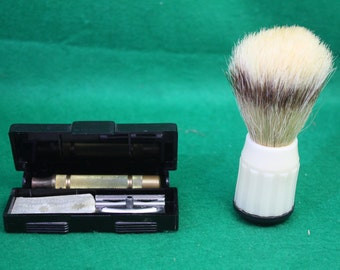 Vintage Gillette Military Issue Safety Razor Kit with Badger Bristle Shaving Brush