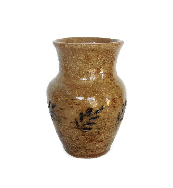 Vintage salt glaze vase hand thrown art pottery OOAK