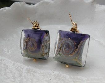 Purple Earrings - Venetian Murano Glass