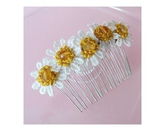 Demelza-inspired lace-daisy hair comb with citrine and French knot centres
