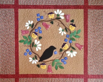 1410-A Spring Crow, A wool on cotton wall hanging pattern