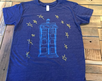Tardis-T-Shirt-Youth-Kids-Tshirt-American Apparel-Tardis-Dr Who-Dr. Who-The Doctor