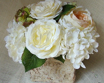 Rustic Centerpiece, Blush Centerpiece, Rustic Silk Centerpiece, Birch Bark Centerpiece, Wood Box Centerpiece
