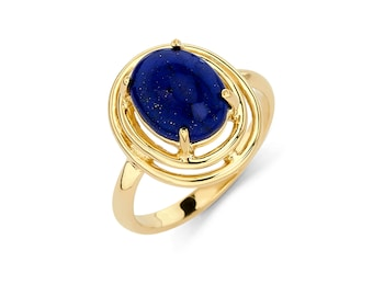 14K Gold Oval Lapis Ring, Lapis Ring, Gold Ring, Fancy Ring, Fancy Jewelry, Lapis Jewelry, Gold Jewelry, Lapis