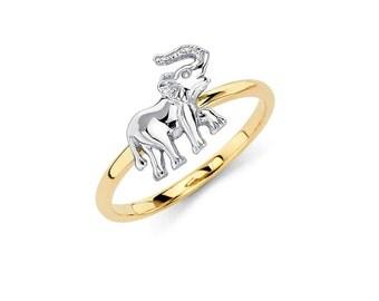 14K Two-Tone Elephant Ring, Elephant Ring, Elephant Jewelry, Two-Tone Ring, Two-Tone Jewelry, Animal Jewlery, Gold Elephant, Gold Ring