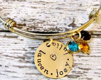 Gold Tone Hand Stamped Personalized Birthstone Bangle Bracelet