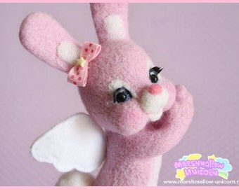 Angel Bunny felted toy cute and kawaii