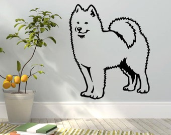 Dog Decal Samoyed, Vinyl Sticker Decal - Good for Walls, Cars, Ipads, Mirrors Etc