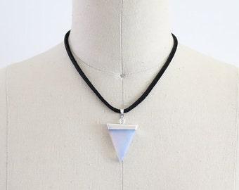 Gemstone Necklace, Gypsy Charm, Bohemian Necklace, Leather Charm Necklace, Jewelry, Pendant Stone, Mineral Crystal, Gemstone, Coachella