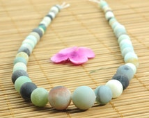 15 inches of Natural Amazonite matte round tower necklace,DIY handmade wholesale beads in 6-12mm