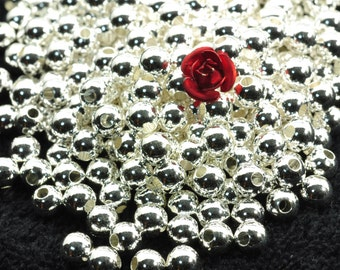 100 pcs of Silver plated bead,smooth bead,smooth round bead,Copper Spacer beads in 5mm