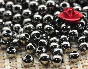 100 pcs of Gun black plated bead,smooth bead,smooth round bead,Copper Spacer beads in 4mm