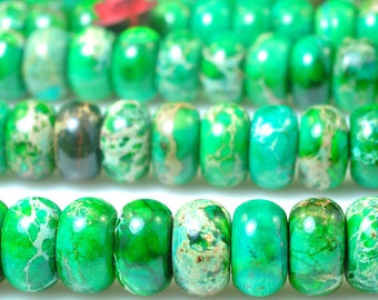 78 pcs of Green Imperial Jasper,Green Emperor stone smooth rondelle beads in 5x8mm