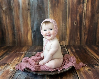 NEWBORN up to toddles size knit lotus stitch bonnet in mohair blend with sequins