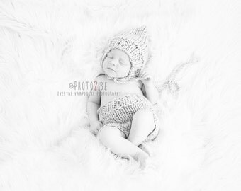 Newborn, 0-3, 3-6, 6-12 and toddler size  knit pixie bonnet and shorty shorts