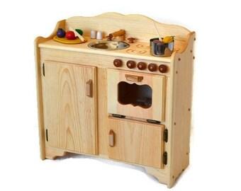 Natural Wooden  Play Kitchen-Wooden Toy Kitchen-Christina's Kitchen Deluxe -Montessori Kitchen-Wooden toys- Waldorf play kitchen