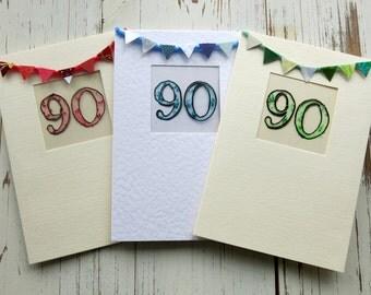 90th birthday card - milestone birthday - Greeting card - birthday card - blank card  - hand painted - hand crafted - handmade -  uk seller