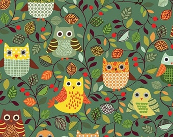 1/2 yard FOREST FRIENDS by Makower U.K. for Andover Fabrics Owls Green