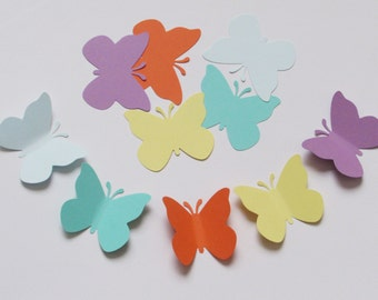 """Set of 50 """"Sugar Candy"""" colors  cardstock paper BUTTERFLY die cut punches, size 2""""x 1.75"""""""