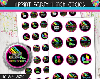 1 inch Circles Bottle Cap Printable - Bottle Cap Disk on 4x6 and 8.5x11 sheets