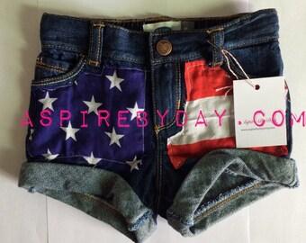 Girls flag shorts
