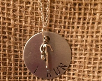 Hand Stamped I Run Necklace