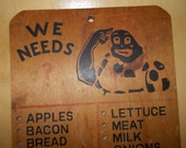 Vintage 1940's Black Americana Peg Board Grocery List