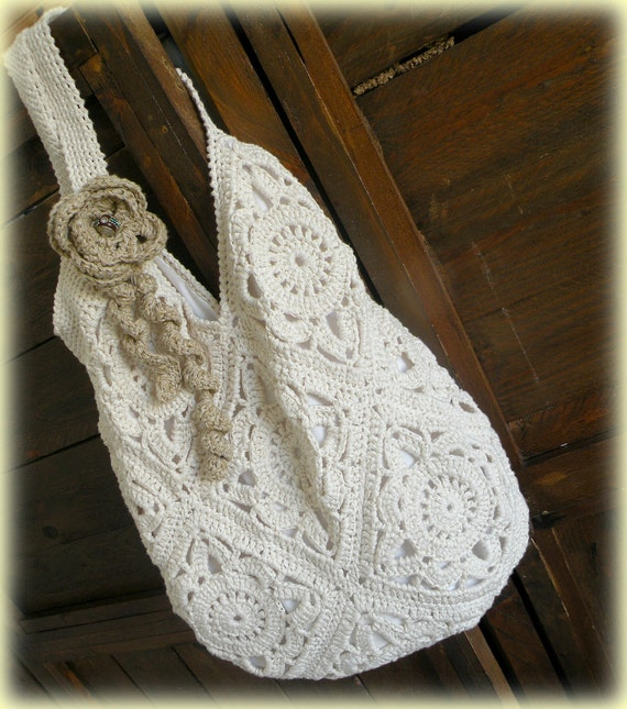 ... boho chic summer bag, cream tote bag, chunky oversize. Crochet bag