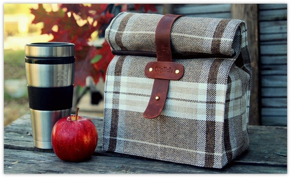 Plaid Lunch Tote for Men and Women / Insulated Lunch Bag