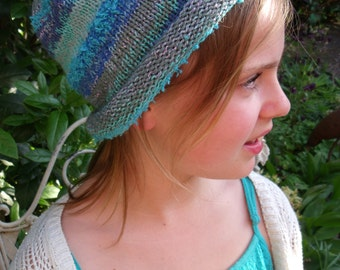 Blue variegated beaded cuff Hat