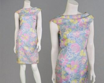 Vintage 60s Mod Pastel Floral Print Shawl Neck Wiggle Dress Sheath Dress Deep Back Shift Dress Helen Kaye Pencil Dress 1960s Mod Mad Men