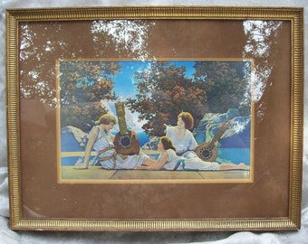 "Original  Vintage1924 Framed MAXFIELD PARRISH PRINT ""The Lute Players or Interlude"""