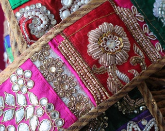 Superb patchwork crystal and embroidery trim