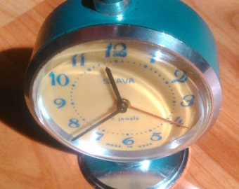 Blue SLAVA Russian Soviet vintage mechanical table alarm clock working USSR